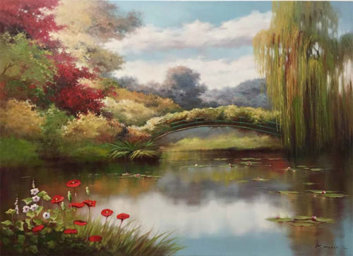 """Stillwater Bridge by Pan Mossi at Art Leaders Gallery, voted """"Michigan's Best Fine Art Gallery"""" is located in the heart of West Bloomfield. This full service fine art gallery is the destination for all your art and custom picture framing needs. Our extensive inventory of art includes styles ranging from contemporary to traditional. The gallery represents international, national, and emerging new talent as well as local Michigan artists."""