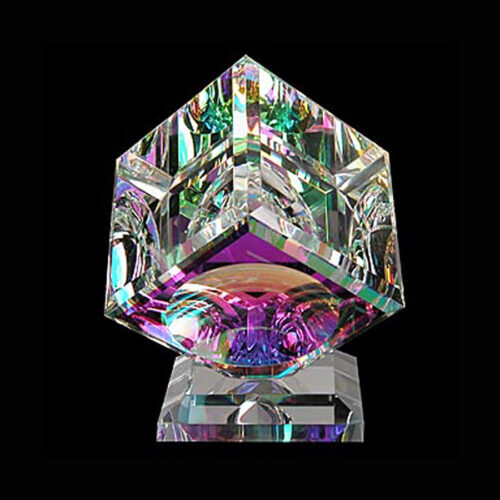 Single Crystal Glass Cube Sculpture