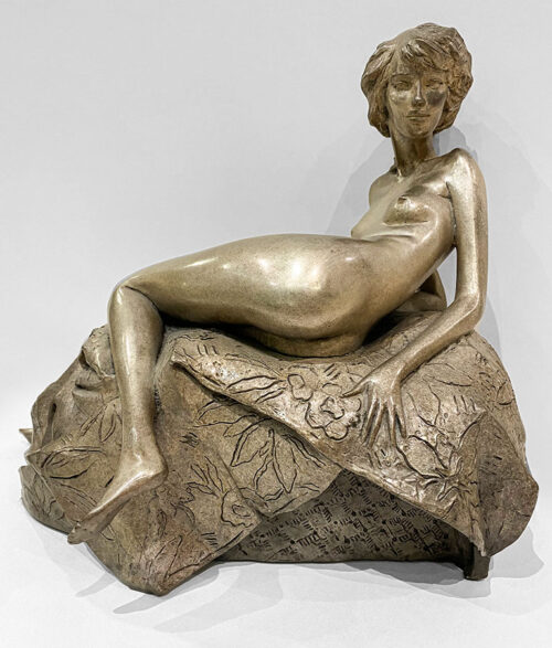 Female Bronze Sculpture with Silver Patina