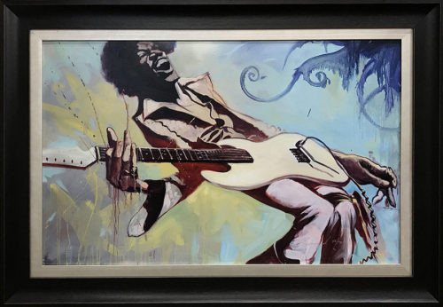 "Jimi by Gabe Leonard at Art Leaders Gallery, voted ""Michigan's Best Fine Art Gallery"" is located in the heart of West Bloomfield. This full service fine art gallery is the destination for all your art and custom picture framing needs. Our extensive inventory of art includes styles ranging from contemporary to traditional. The gallery represents international, national and emerging new talent as well as local Michigan artists."