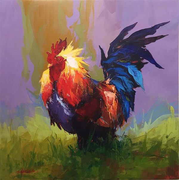 "Rooster V by P. Charles at Art Leaders Gallery, voted ""Michigan's Best Fine Art Gallery"" is located in the heart of West Bloomfield. This full service fine art gallery is the destination for all your art and custom picture framing needs. Our extensive inventory of art includes styles ranging from contemporary to traditional. The gallery represents international, national, and emerging new talent as well as local Michigan artists."