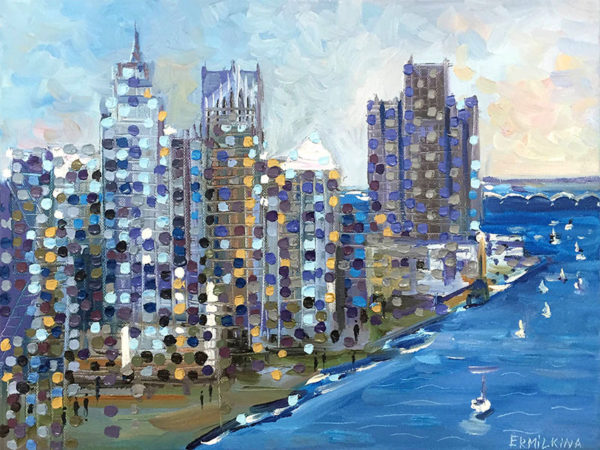 Detroit River Sail by Ekaterina Ermilkina at Art Leaders Gallery - Michigan's Finest Art Gallery