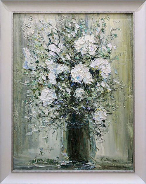 """White Floral Bouquet II"" by Konstantin Savchenko at Art Leaders Gallery, voted ""Michigan's Best Fine Art Gallery"" is located in the heart of West Bloomfield. This full service fine art gallery is the destination for all your art and custom picture framing needs. Our extensive inventory of art includes styles ranging from contemporary to traditional. The gallery represents international, national, and emerging new talent as well as local Michigan artists."