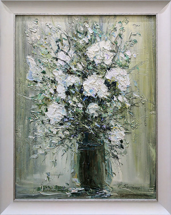 """""""White Floral Bouquet II"""" by Konstantin Savchenko at Art Leaders Gallery, voted """"Michigan's Best Fine Art Gallery"""" is located in the heart of West Bloomfield. This full service fine art gallery is the destination for all your art and custom picture framing needs. Our extensive inventory of art includes styles ranging from contemporary to traditional. The gallery represents international, national, and emerging new talent as well as local Michigan artists."""