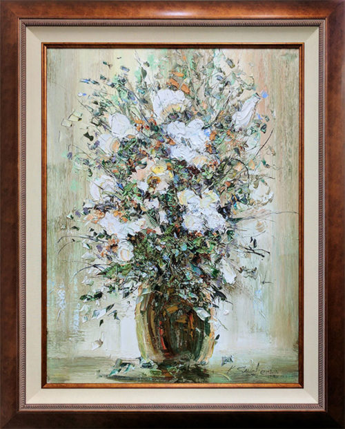 """White Floral Bouquet"" by Konstantin Savchenko at Art Leaders Gallery, voted ""Michigan's Best Fine Art Gallery"" is located in the heart of West Bloomfield. This full service fine art gallery is the destination for all your art and custom picture framing needs. Our extensive inventory of art includes styles ranging from contemporary to traditional. The gallery represents international, national, and emerging new talent as well as local Michigan artists."