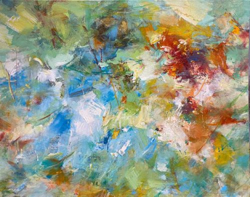 Large Colorful Abstract Oil Painting
