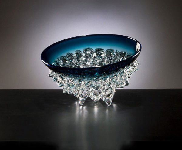 Steel Blue Tilted Thorn Bowl by Andrew Madvin at Art Leaders Gallery - Michigan's Finest Art Gallery