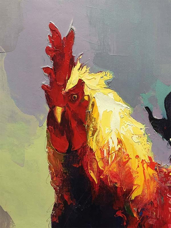 Rooster IV by P. Charles, Detail
