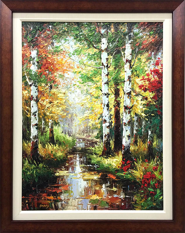 Birch Tree Path II by Henry, Framed