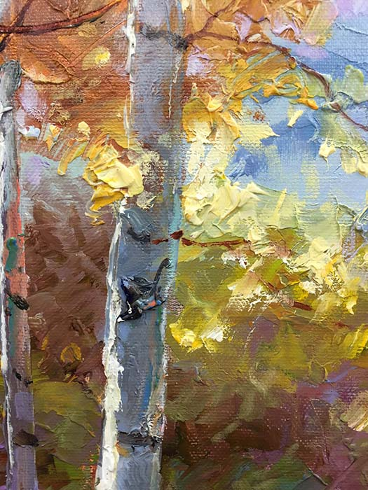 Birch Trees in Autumn by Dae Chun Kim, Texture