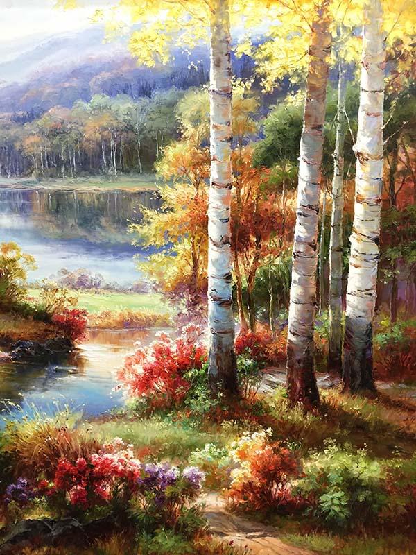 Birch Trees in Autumn by Dae Chun Kim