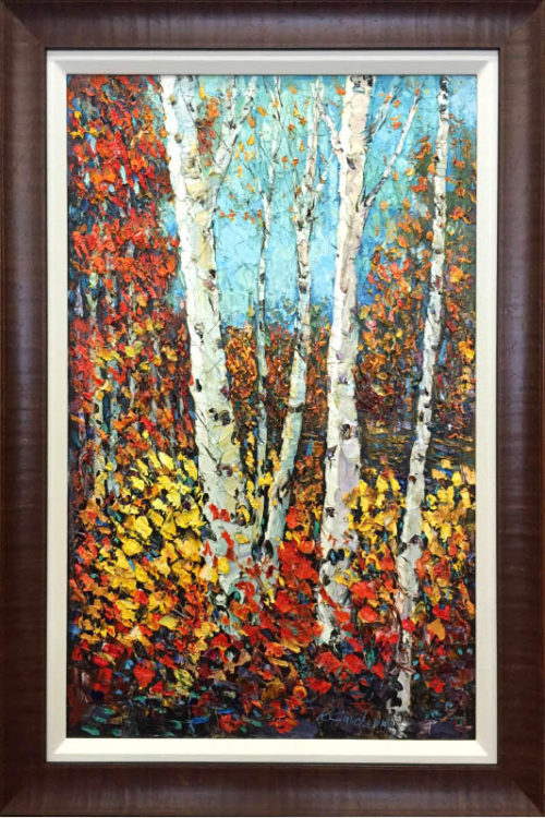 Birches in Autumn by Konstantin Savchenko, Framed