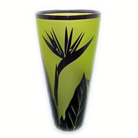 Chartreuse Bird of Paradise Vase 8603 Correia Glass