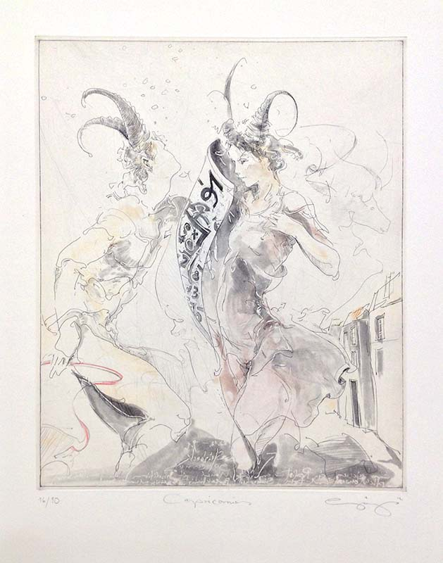 Capricorn - Hand-Colored Etching, Overview