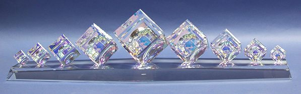 Long Crystal Cube Centerpiece by Harold Lustig
