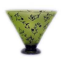 Chartreuse and Black Floral Bowl 8511 Correia Glass