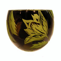 Chartreuse and Black Tulips Bowl 8597 Correia Glass