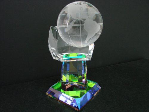Crystal Hand with Globe Glass Artwork