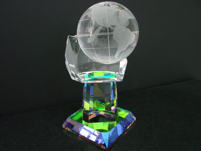 Crystal Hand with Globe Glass Artwork