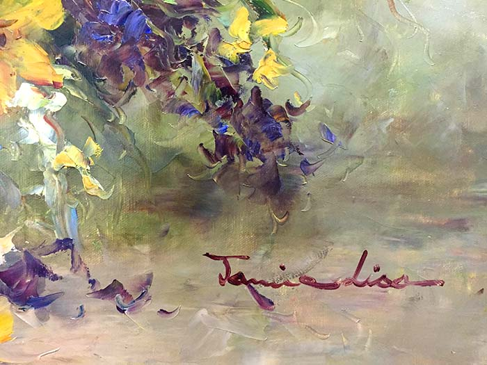 Daisies and Daffodils by Jamie Lisa, Signature