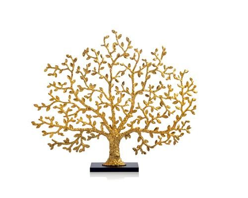 Tree of Life Decorative Fireplace Screen in Antique Goldtone