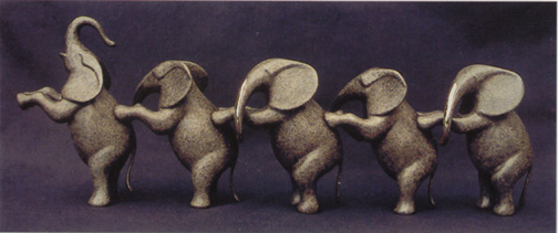 Elephants, Large Standing - Sculpture #373