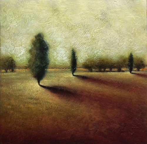 Evergreen Shadows I - Original Mixed Media on Wood, View 1