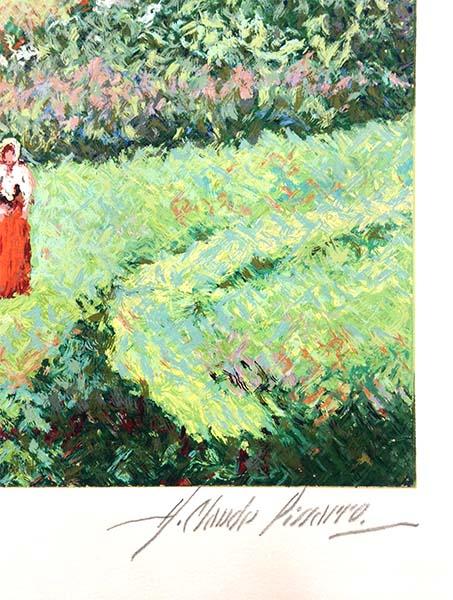 H. Claude Pissarro - Garden of Yves St. Laurent, Signature