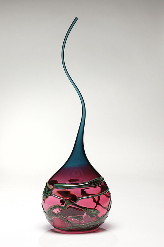 Gocci Vessel in Merlot & Steel Blue by Victor Chiarizia