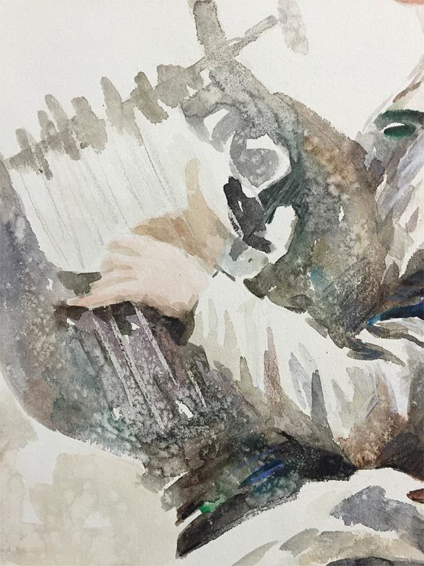 Harp Player by Wei Tai, Detail