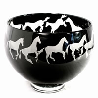 Black and White Horses Bowl 8545 Correia Glass