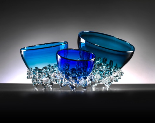 Cobalt  and Aqua Thorn Bowls by Andrew Madvin