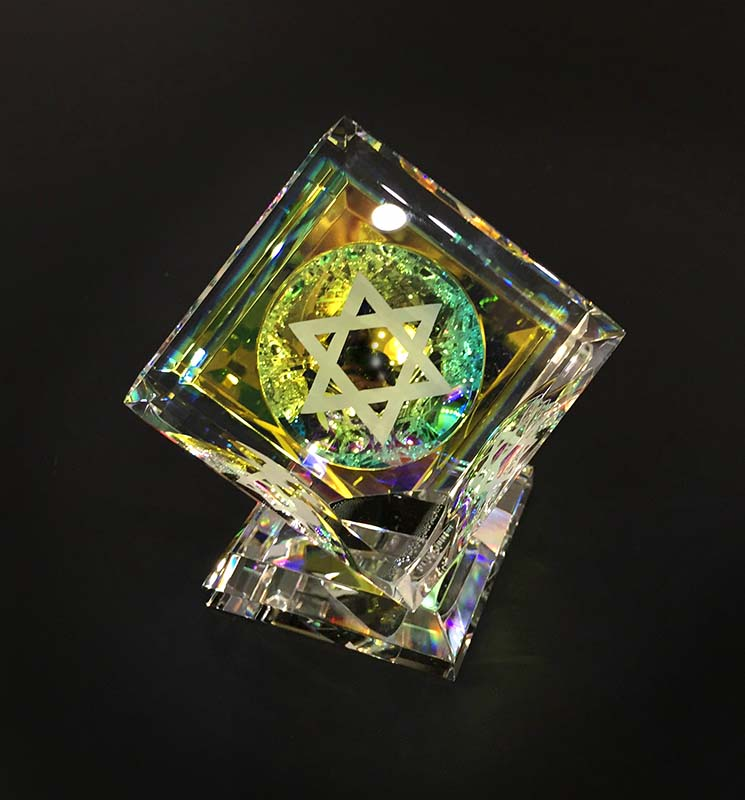 Single Crystal Cube with 3 Judaica Images by Harold Lustig, Star of David