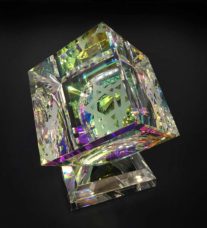 Single Crystal Cube with 3 Judaica Images by Harold Lustig