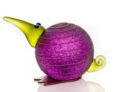 Kiwi Paperweight: 24-02-44 in Purple