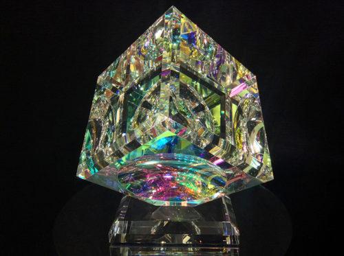 Single Crystal Cube on Base - Straight Bevel by Harold Lustig