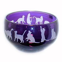 Lilac Cats Bowl 8544 Correia Glass