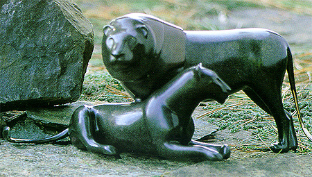 Lion Pair - Loet Vanderveen Bronze Sculpture
