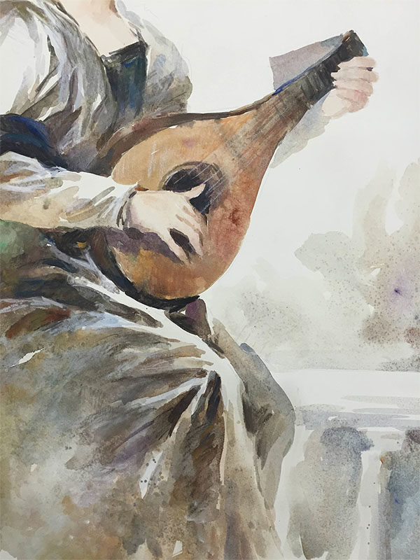 Mandolin Player by Wei Tai, Detail
