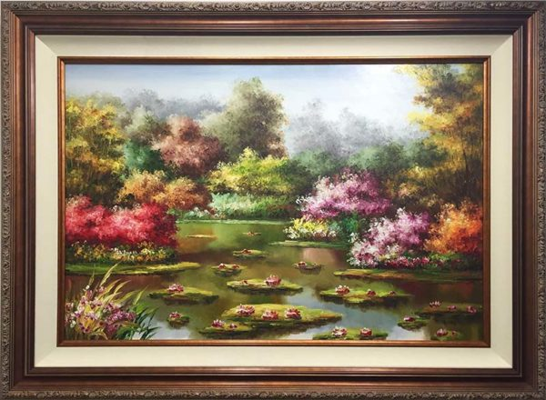 Water Lilies III by Mulio, Framed