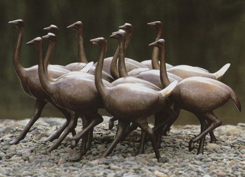 Ostriches, Large Running - Sculpture #354