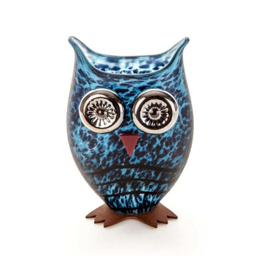 Owl Vase: 24-03-76 in Blue