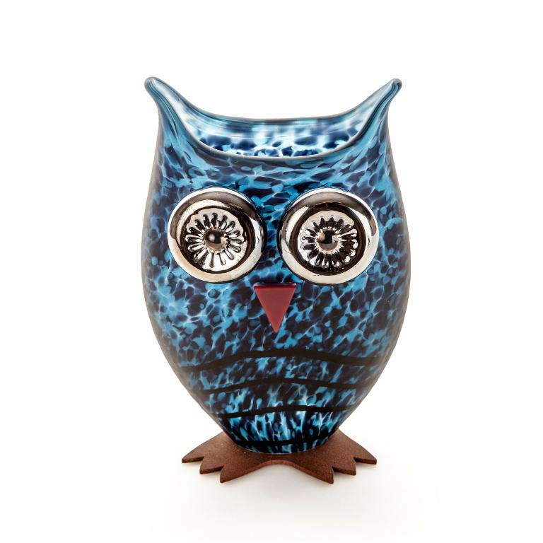Owl Vase: 24-03-76 in Blue