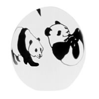 Black and White Pandas Paperweight 8481 Correia Glass