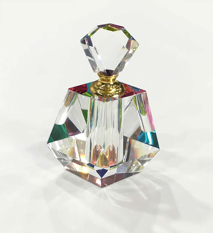Crystal Perfume Bottle by Harold Lustig on White Background