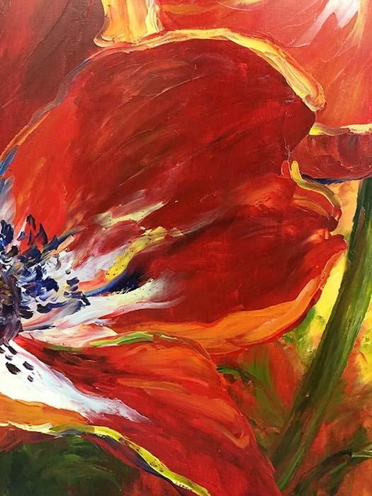 Red Poppies by Jamie Lisa, Detail
