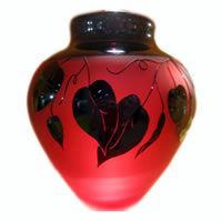 Ruby in Black Vines Vase 8605 Correia Glass
