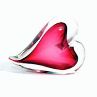 Ruby Heart Paperweight 1566 Correia Glass