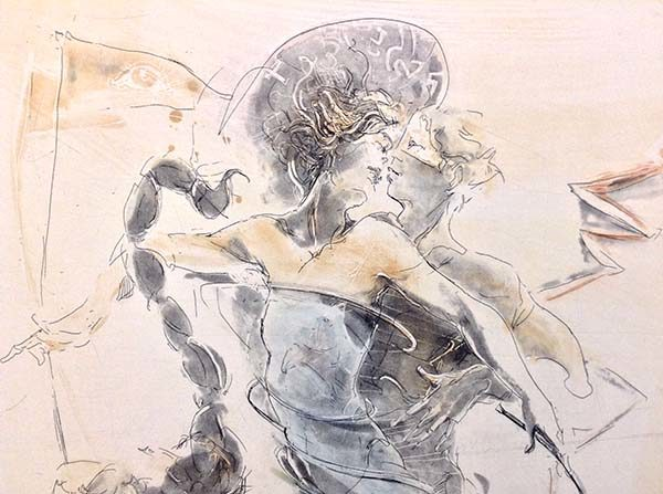 Scorpio - Hand-Colored Etching, Detail