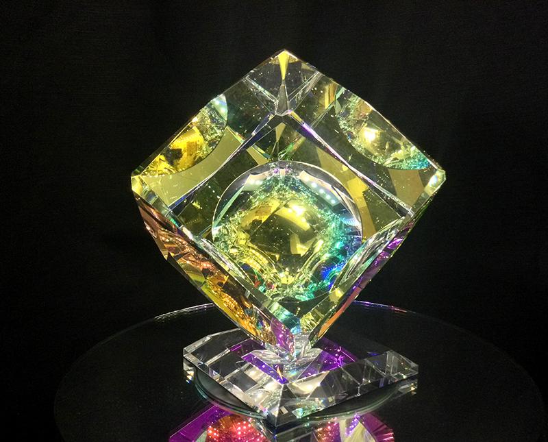 Single Crystal Cube on Base - V Bevel by Harold Lustig